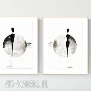 Zestaw 2 grafik 30x40 cm wykonanych ręcznie, abstrakcja