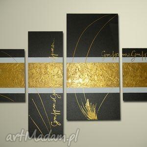 AWANGARDA WENGE GOLD - 130x70cm obraz ręcznie malowany, obraz, awagarda, nowoczesny