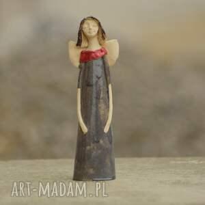 anioł ceramiczny, ręcznie wykonany, szary