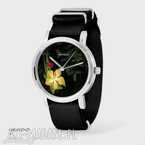 Prezent Zegarek, bransoletka - Jungle flowers czarny, nato, zegarek,