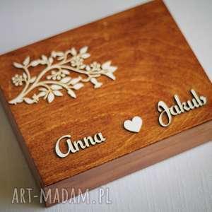 Pudełko na obrączki - gałązka II, pudełko, eko, obrączki, drewno, rustykalne, koronka