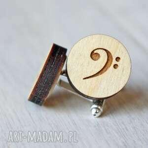 hand-made spinki do mankietów klucz basowy