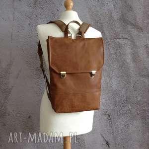 skórzany plecak, plecak, skóra z recyklingu, do pracy