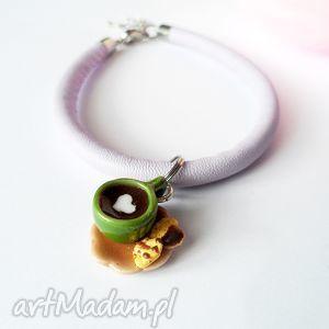 bransoletki pastelowa bransoletka z kawą, fimo, filiżanka, bransoletka, prezent