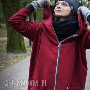 bordowy płaszcz, kurtka oversize ogromny kaptur na jesień zimę l, na zimę
