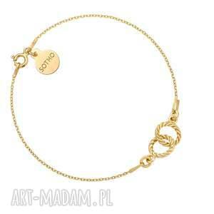 sotho złota bransoletka z dwoma karmami, łańcuszek, kółeczka, kółka, delikatne