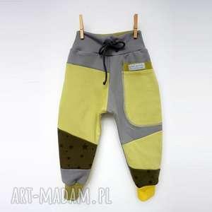 Prezent PATCH PANTS spodnie 104- 152 cm szary ółty, bawełna, wygodne, eco