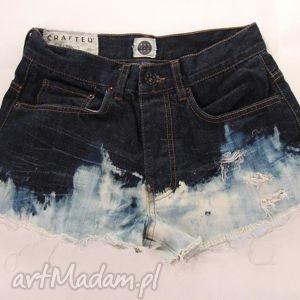 spodnie spodenki szorty ombre z ćwiekami, spodnie, szorty, denim, jeans