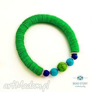 bransoletki elastyczna bransoletka zielono szmaragdowa, wygodna, elastyczna, kolorowa