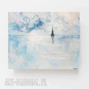 samotna łódź-morze-obraz akrylowy formatu 60/50 cm, marynistyka, łódź, obraz