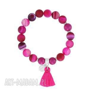 bransoletka z agatów z chwostem - boho - różowe bransoletki