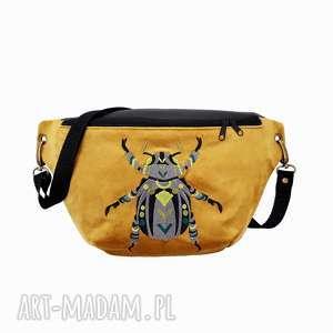 nerka xxl złoto i czerń chrząszcz, nerka, torebka, aksamit, haft