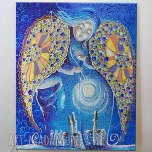 magiczne gwiazdy anioła stróża, dom, obraz, płótno, anioł stróż