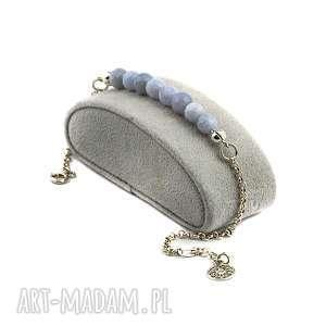 agat blue, agat, delikatna bransoletka, srebro, 925