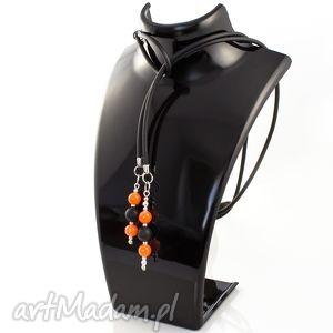lume handmade naszyjnik kauczukowy czarny pomarańczowy, naszyjnik, długi, zawieszki