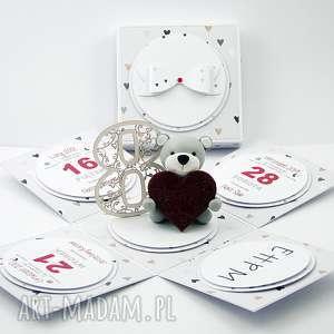 scrapbooking kartki exploding box walentynki, box, walentynki, miś, serce