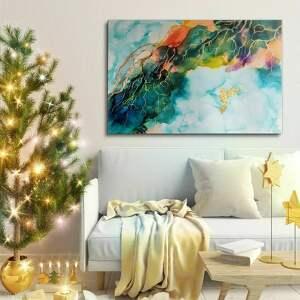 koliber w winoroślach - ręcznie malowany obraz 120x80 cm, prezent