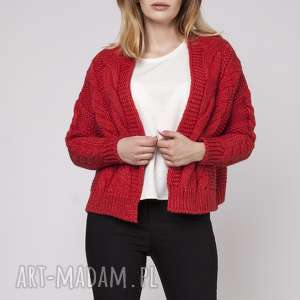 sweter bez zapięcia, swe150 czerwony mkm, gruby, sweter, kardigan, narzutka