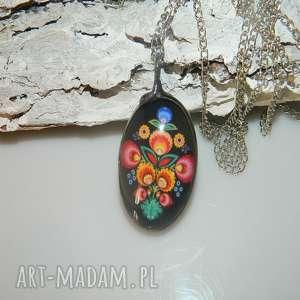 esterka folk, wisior, unikatowa biżuteria, unikalny kolorowy, szklany
