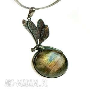 srebrna ważka z labradorytem a615, ważka, elegancki prezent, srebrny