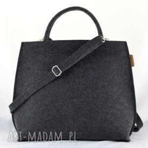 na ramię kuferek grafitowy, średnia torebka do ręki i długi pasek, pojemna