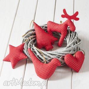 dekoracje ozdoby choinkowe czerwone w złote kropki, ozdoby, bombka, prezent