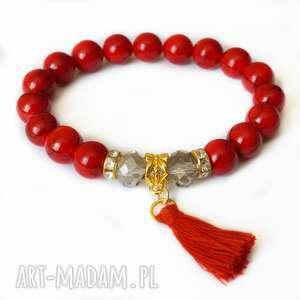 Bransoleta red marble, Swarovski ki,chwost,chwościk,