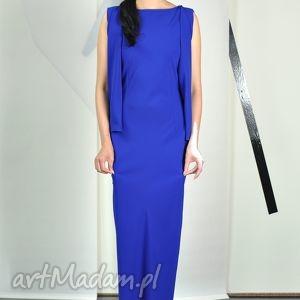 PAVETTA - wizytowa suknia, wizytowa, długa, elegancka, koktailowa, szafirowa