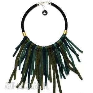 Kolia Aquatica, modny, naszyjnik, bawełniany, zielony, zpaghetti, kolia