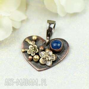 wisiorki miedziany wisiorek serce z lapis lazuli c855-6