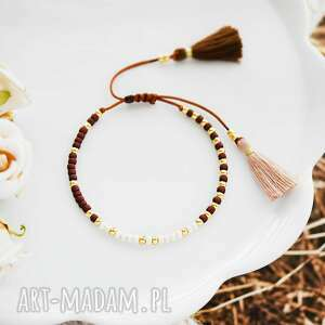 bransoletka na sznurku z chwostami brązowo-kremowa minimal brown and cream