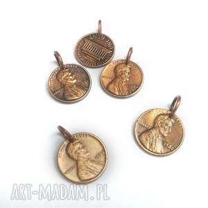 wisiorek - moneta 1 cent usa, moneta, usa, cent, na szczęście, prezent