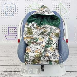hand-made dla dziecka kocyk do nosidła samochodowego sawanna