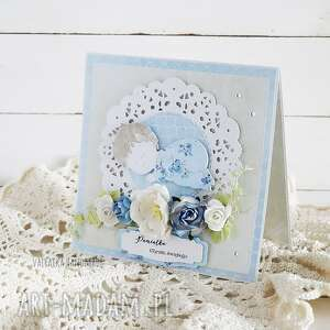 pamiątka chrztu św kartka w pudełku 633 - niebieskie, chrzciny