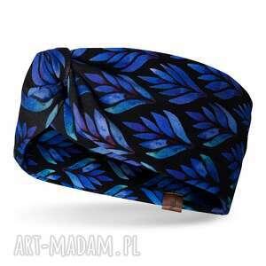 wiosenna opaskaw kobaltowe listki, bardzo wygodna, z ozodbnym węzłem, bawełniana