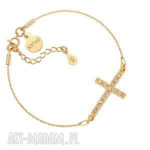 sotho złota bransoletka z krzyżem wysadzanym swarovski crystal