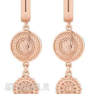 kolczyki długie z różowego złota z rozetkami - złote
