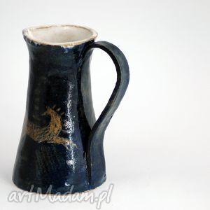 niebieski dzban dzbanek z motywem konia, dzban, dzbanek, skandynawski, koń, koniem