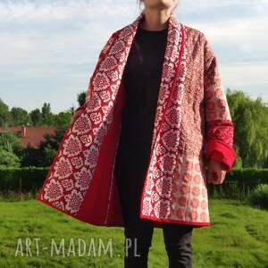 hand-made płaszcze płaszcz patchworkowy długi w stylu boho, kimonowy