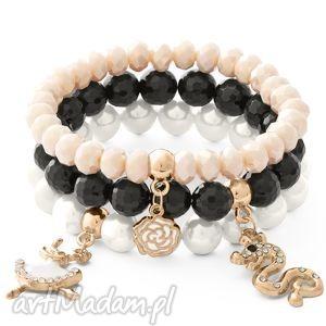 White pearl, black onyx a,onyks,kryształki,wąż,baletnica,róża,