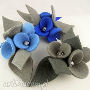 zestaw - 3 broszki z filcu - filc, komplet, broszka, filcowy, bratki, kwiatek
