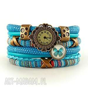zegarki zegarek - bransoletka w stylu boho, z zawieszką, zegarek
