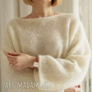 swetry lekki sweter oversize, sweterek, wełniany, krótki