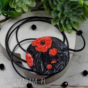 naszyjniki zawieszka czerwone maki, kwiaty, naszyjnik