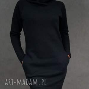 Sukienka dresowa DreSówka z kominem czarna, tunika, dresowa, sukienka, komin, ciepła