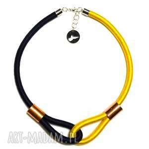 multicolor dark navy blue yellow - minimalistyczny, modny, naszyjnik, etniczny, dwukolorowy