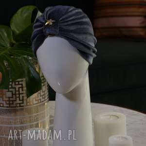 turban welurowy, szary srebrny czapka