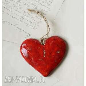 wyjątkowy prezent, serce karminowe zawieszka, ceramika, serce, walentynki