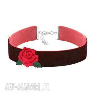 bordowy choker z różą - folk - róża, aksamit, kwiat