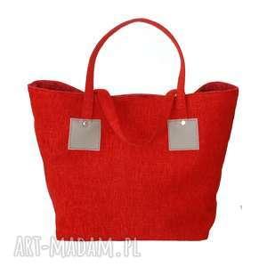 37-0001 Czerwona torebka shopper bag 3w1 / ekologiczna torba na zakupy OWL